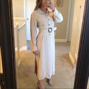 Free People long sleeve belted midi dress